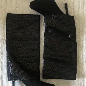 Nina boots mid calf sequin heels pumps plataform